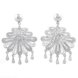 'Silver Dance' - Sterling Silver Filigree Chandelier Earrings