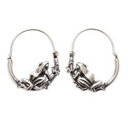 Sterling silver hoop earrings, 'Tree Frogs'