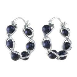 'Shadow Twist' - Sterling Silver and Pearl Hoop Earrings