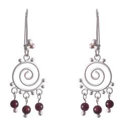 'Energy' - Sterling Silver and Garnet Chandelier Earrings