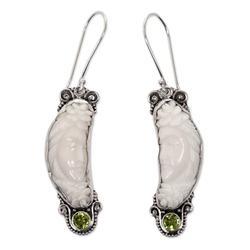 Peridot dangle earrings, 'Rose Queen'
