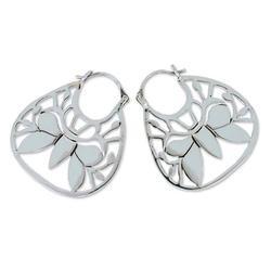 'Butterfly Dreams' - Sterling Silver Hoop Earrings from Mexico