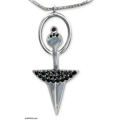 Onyx pendant necklace, 'Ballerina Fantasy'