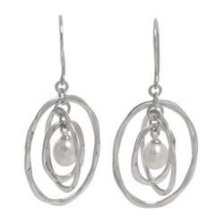 Pearl dangle earrings, 'Oval Orbits'