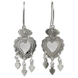 'Gypsy Heart' - Unique Antique Style Taxco Silver Chandelier Ea