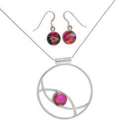 'Infinite Color' - Women's Modern Art Glass Sterling Silver Jewelry Set