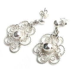 Silver flower earrings, 'Princess Lace'
