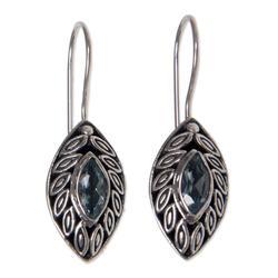 Blue topaz drop earrings, 'New Life'