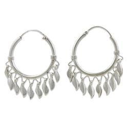 'Leaves in the Wind' - Handcrafted Sterling Silver Hoop Earrings