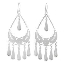 'Mystic Rain' - Handcrafted Sterling Silver Chandelier Earrings