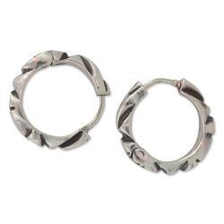 'Sierra Breeze' - Hand Crafted Taxco Silver Hoop Earrings