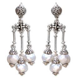 Cultured pearl chandelier earrings, 'Shower of Blessings'