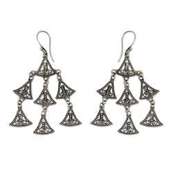 'Java Belle' - Handmade Sterling Silver Chandelier Earrings