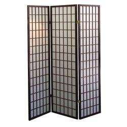 """ORE Furniture 50"""" W x 70"""" H 3 - Panel Solid Wood Folding Room Divider Wood in Gray/Black, Size 70.0 H x 50.0 W x 10.0 D in   Wayfair R566"""