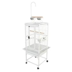 """A&E Cage Co. Small Play Top Bird Cage, Iron in Pure White, Size 54""""H X 18""""W X 18""""D   Wayfair 8001818Pure White"""