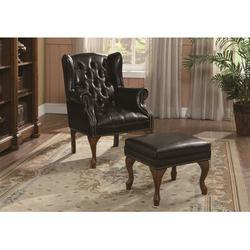 """Wildon Home® 29.5"""" Wide Tufted Wingback Chair & Ottoman Faux Leather in Black/Brown/Red, Size 38.0 H x 29.5 W x 27.0 D in   Wayfair 11373"""