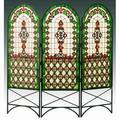 Meyda Tiffany Quatrefoil Classical 3 Panel Room Divider Glass in Green, Size 58.0 H x 60.0 W x 0.75 D in   Wayfair 48809