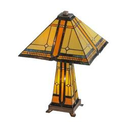 """Meyda Tiffany Sierra Prairie Mission Lighted Base 25"""" Table Lamp Glass/Metal in Brown/Gray, Size 25.0 H x 25.0 W x 25.0 D in 