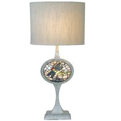 """Meyda Tiffany Cameo Dragonfly Lighted Base 31.5"""" Table Lamp Metal in Brown/Gray, Size 31.5 H x 15.0 W x 15.0 D in 