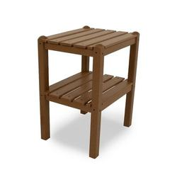 POLYWOOD® Two Shelf Plastic Side Table Plastic in Brown, Size 22.75 H x 18.5 W in | Wayfair TWSTTE