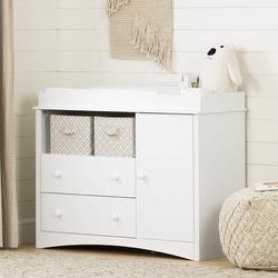 South Shore Peek-a-boo Changing Table Dresser Wood in White, Size 36.25 H x 43.5 W x 19.5 D in   Wayfair 2280331