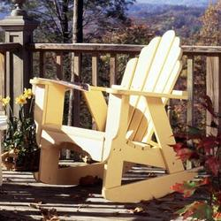 "Uwharrie Chair Fanback Wood Rocking Adirondack Chair in Brown/Gold/Gray, Size 45""H X 33""W X 36""D | Wayfair 4012"