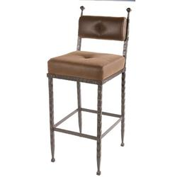 Stone County Ironworks Forest Hill Bar & Counter StoolUpholstered/Metal in Black/Brown, Size 39.0 H x 16.0 W x 20.0 D in | Wayfair 904-197-FBR