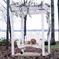 """Uwharrie Chair Fanback Porch Swing, Wood in Gold/Brown/Gray, Size 37""""H X 52""""W X 36""""D 