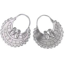 'Lovebirds' - Unique Sterling Silver Hoop Bird Earrings