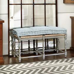 Farmhouse 2-Seat Bench Cushion Small Black Check - Ballard Designs
