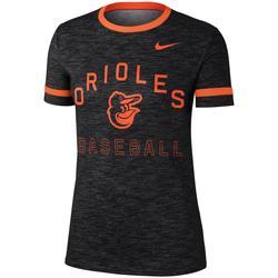 """Women's Nike Black Baltimore Orioles Slub Ringer Performance T-Shirt"""