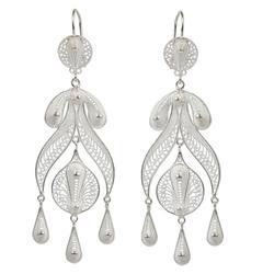 'Filigree Teardrops' - Peruvian Fine 950 Silver Chandelier Earrings