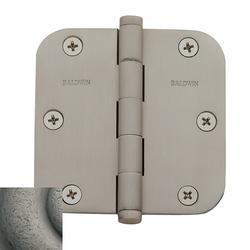"Baldwin 1135.I 3.5"" x 3.5"" Solid Brass Plain Bearing 5/8"" Radius Corner Mortise Door Hinge - Single"