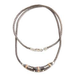 Sterling Silver and 18k Gold Accent Naga Necklace 'Celuk Celebration'