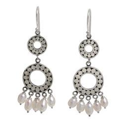 Pearl chandelier earrings, 'Eclipse in White'