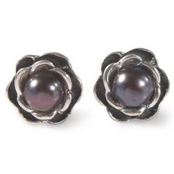 'Black Rose' - Cultured Black Pearl And .950 Silver Rose Stud Earrin
