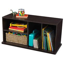 KidKraft Stackable Wooden Storage Shelving Unit with Four Compartments, Children's Furniture - Espresso (14176)
