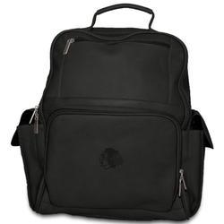 NHL Chicago Blackhawks Black Leather Large Backpack