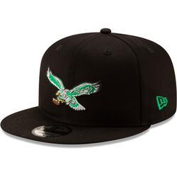 Men's New Era Black Philadelphia Eagles Throwback 9FIFTY Adjustable Snapback Hat
