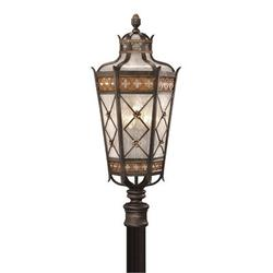 """Fine Art Handcrafted Lighting Chateau Outdoor 32"""" Outdoor Post Mount in Yellow, Size 32.0 H x 14.0 W in 