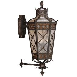 Fine Art Handcrafted Lighting Chateau Variegated 4 - Bulb Frosted Glass Rich Umber Patina/Solid Brass/Gold Outdoor Wall Lantern in Gray | Wayfair