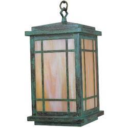 "Arroyo Craftsman Avenue 1-Light Outdoor Hanging Lantern, Shade Type: Clear Seedy, Glass/Metal in Bronze, Size 14.5"" H x 8"" W | Wayfair AVH-8CS-BZ"