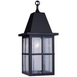 "Arroyo Craftsman Hartford 1-Light Outdoor Hanging Lantern, Shade Type: Gold White Iridescent, Glass in Bronze, Size 14.5"" H x 6"" W | Wayfair"