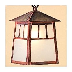 "Arroyo Craftsman Raymond 1-Light Outdoor Hanging Lantern, Shade Type: Clear Seedy, Glass/Metal in Bronze, Size 12.75"" H x 8"" W | Wayfair RH-8CS-BZ"