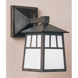 "Arroyo Craftsman Raymond 1-Light Outdoor Wall Lantern, Shade Type: Frosted, Glass in Bronze, Size 17.5"" H x 9.88"" W x 14"" D | Wayfair RB-10WF-BZ"