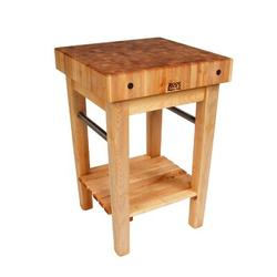 """John Boos John Boos American Heritage Pro Prep Block Table, Drawers: Not Included, Casters: Included, Wood/Solid Wood, Size 36"""" W x 24"""" D 