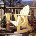 "Uwharrie Chair Fanback Wood Rocking Adirondack Chair in Canary Yellow Wash, Size 45""H X 33""W X 36""D 
