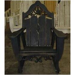 Uwharrie Chair Veranda Rocking Adirondack Chair Wood in Indigo, Size 46.0 H x 34.5 W x 38.0 D in | Wayfair V112-044-Wash