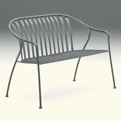 Woodard Valencia Stackable Barrel Wrought Iron Garden BenchMetal in White, Size 33.0 H x 43.5 W x 26.8 D in | Wayfair 310019-20