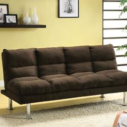 "Hokku Designs Twin 67"" Wide Biscuit Back Convertible Sofa Wood/Microfiber/Microsuede in Brown, Size 31.0 H x 67.0 W x 28.0 D in | Wayfair"